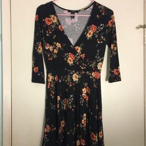 Floral deep V dress